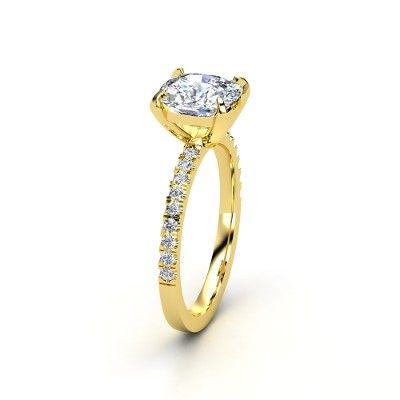 Cushion Diamond 14K Yellow Gold Ring with Diamond - lay_down