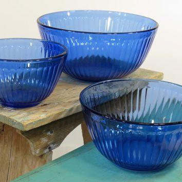 Pyrex Sculptured Cobalt Blue Glass Mixing Bowls Set of 3