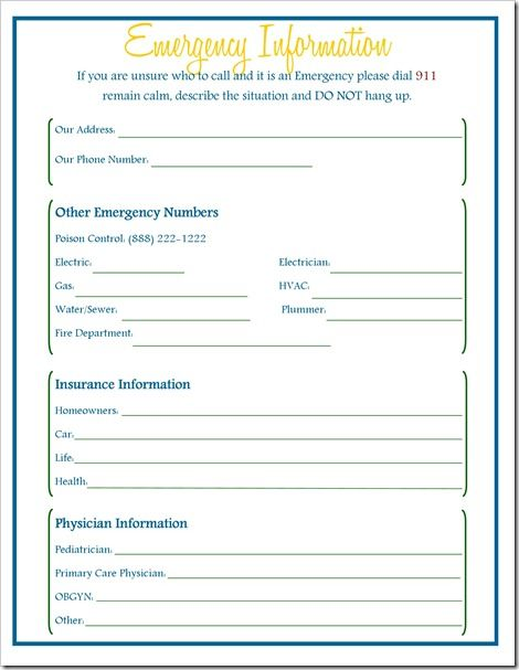 emergency info for babysitter everything kids pinterest