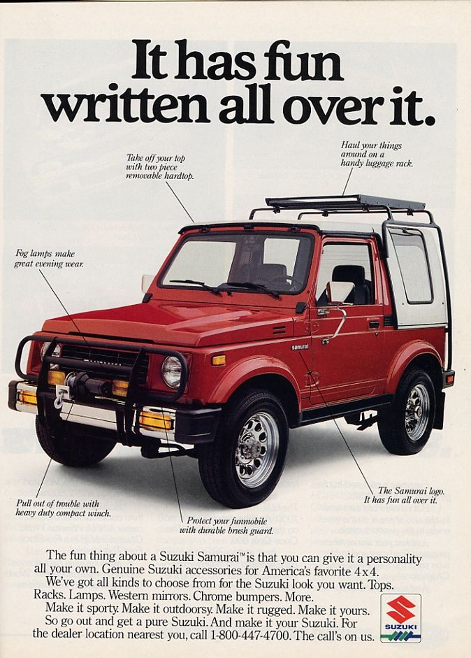 Suzuki Samurai Ad I Think They Look Best With Big Tires Small