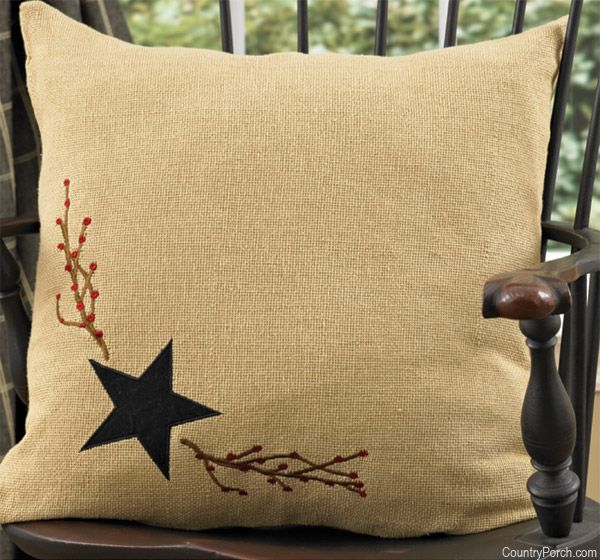 Decorative Primitive Pillows : Burlap Star Pillow Country Primitive Decor Pinterest Burlap, Pillows and Porch