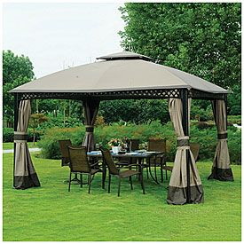 View Wilson Fisher 10 X 12 Windsor Dome Gazebo Deals At Big Lots Gazebo Outside House Paint Small Backyard Gardens