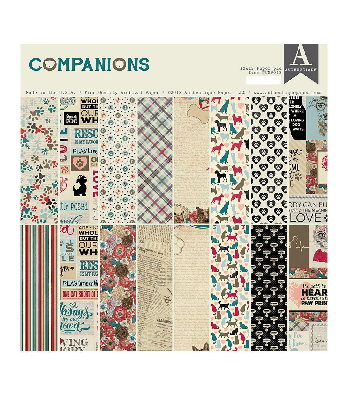 Authentique Double Sided Cardstock Pad 12 X12 24 Pkg Companions With Images Authentique Paper Paper Pads Authentique