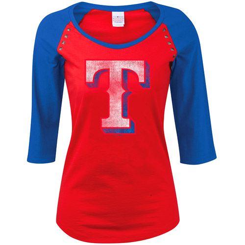 Texas Rangers Women S 3 4 Sleeve Jersey Raglan By 5th Ocean Mlb Com Shop Texas Rangers Outfit Texas Rangers Ranger