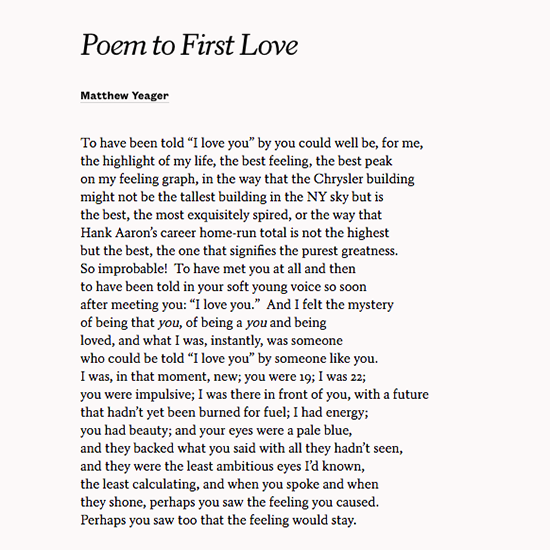 "Share Matthew Yaeger's ""Poem To First Love"" To Recall The"