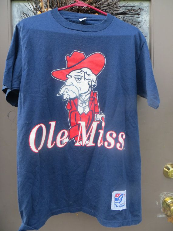 1970s Original Retro Brand Ole Miss Rebels All Cotton Tee Shirt Size Med By The Game Cotton Tee Shirts Retro Brand Ole Miss
