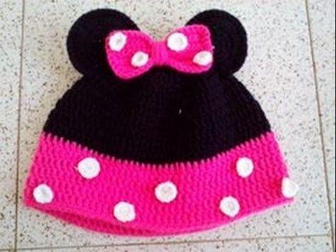 Gorro de Minnie Mouse en Crochet   Minnie mouse, Minnie y Gorros