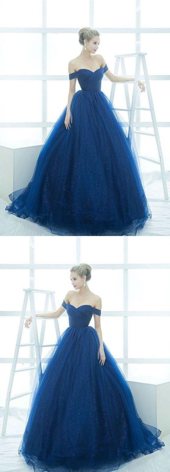 Elegant aline offshoulder ball gown royal blue tulle long prom