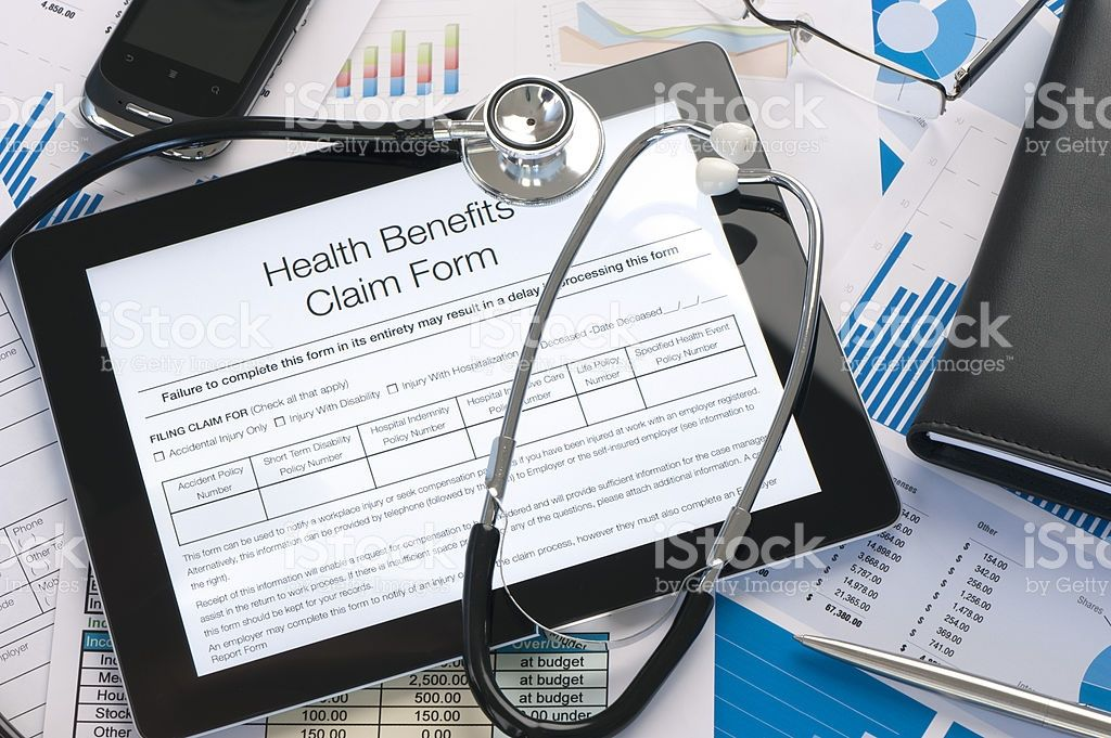 Online health benefits claim form royaltyfree stock photo