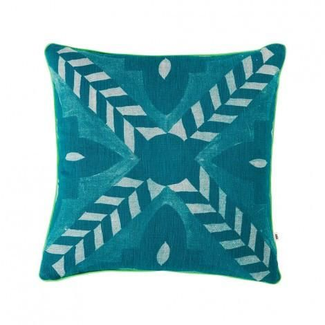Bonnie and Neil Deco Flower Tile Teal Cushion 40cm | Bonnie and Neil – Salt Living or online at www.saltliving.com.au #saltliving #bonnieandneil #screenprinting #linen #cushion