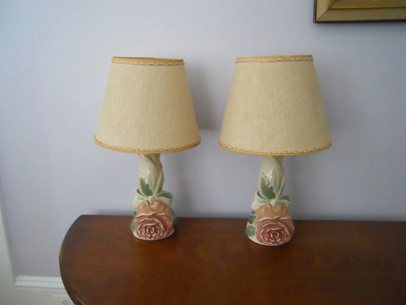 Vintage Bedroom Vanity Table Lamps Matched Pair Shabby Chic Romantic With  Shades By SwanVintageFinds On Etsy