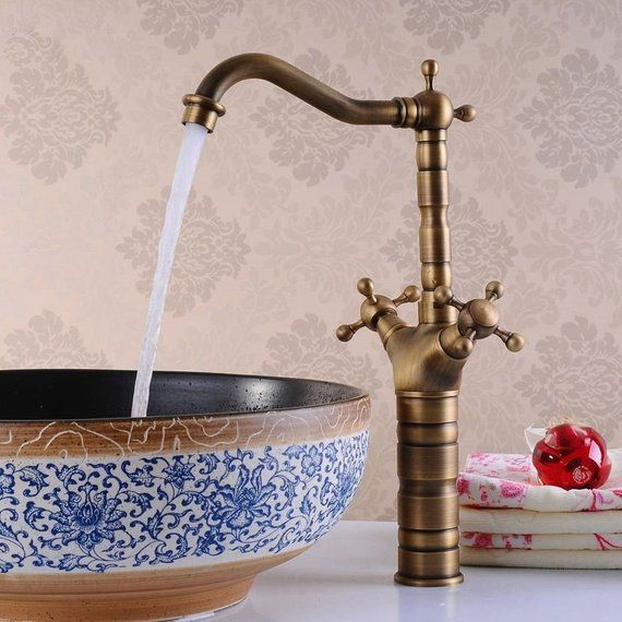 Photo of Antique Byzantium Brass Faucet for Bathroom Vanity & Sink, Sink.