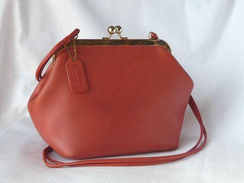 3714c2819 Vintage Coach Bonnie Cashin Pink Leather Framed Kisslock Bag Handbag Purse  | eBay