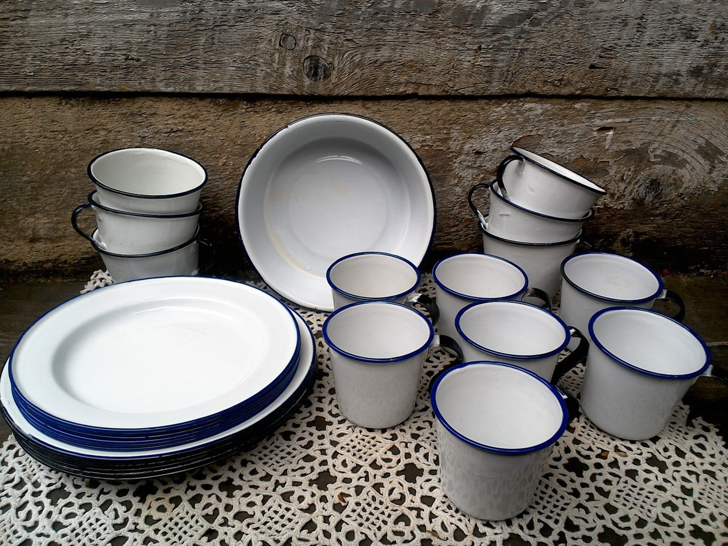 SET OF 26 Pieces Enamel SWEDEN Picnic Plates Bowl Cups Camping