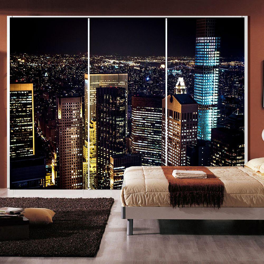 Yazi Personalized Size City Night Pvc Wallpaper Wall Sticker Window