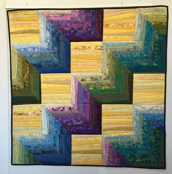 CLEARANCE. Quilted wall hanging. Geometric quilt. Abstract art ...