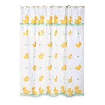 Duck+shower+curtains | Fabric Like Rubber Ducky Rainy Duck Shower Curtain At