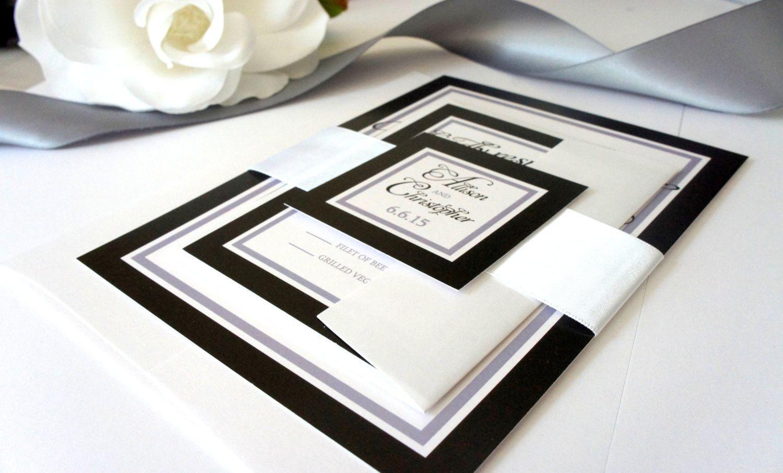 Black Wedding Invitation, Black and White Wedding Invitation, Classy ...