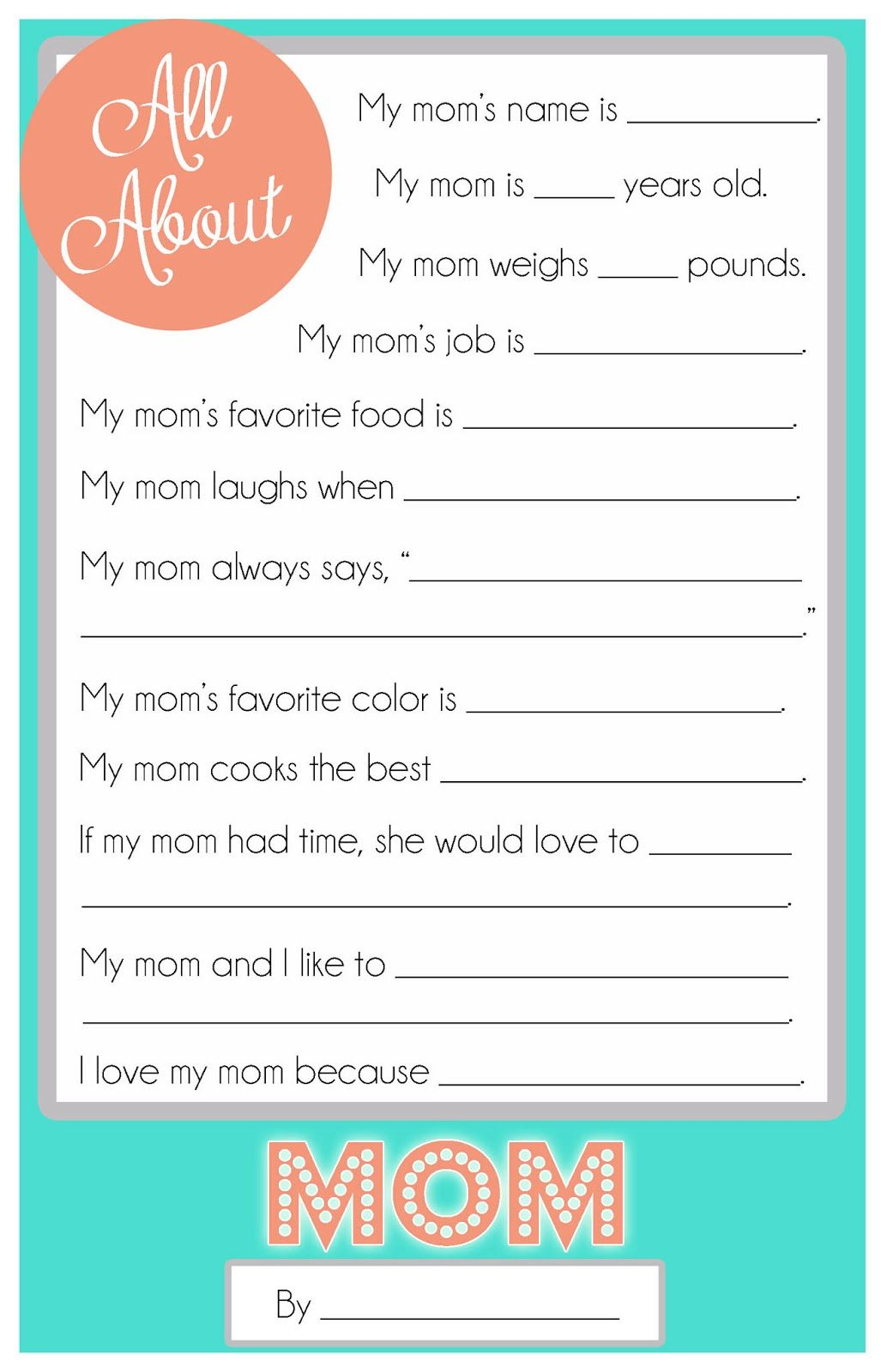 Mother S Day Questionnaire A Free Printable For The Kids