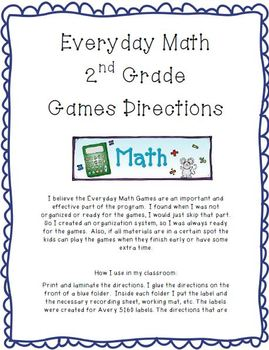 Everyday Math Game Directions 2nd Grade Math Math Math Games