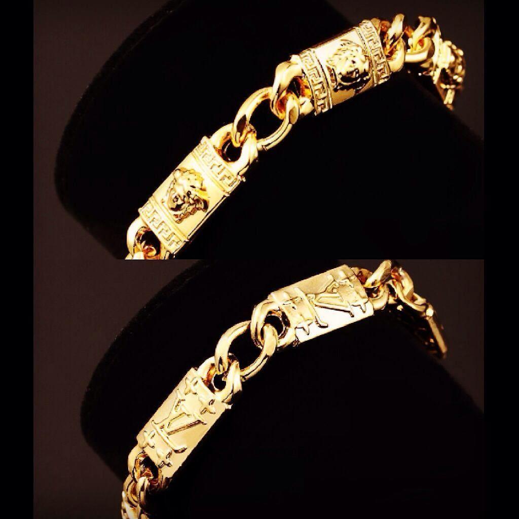 K gold plated reversible versacelouie v bracelet on sale