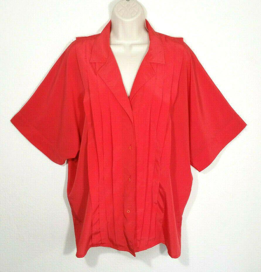 Josephine Women Size 20W / 40 Red Orange Button Shirt Top Blouse Dolman Sleeves #Josephine #Basic #Casual