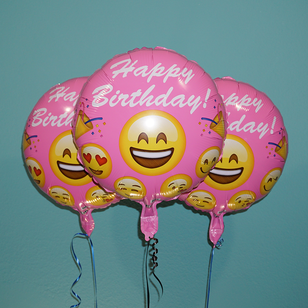 18 Emoji Pink Happy Birthday 3 Pack Celebrate Your Style If You Like Emojis And Is Favorite Color These Helium Balloons