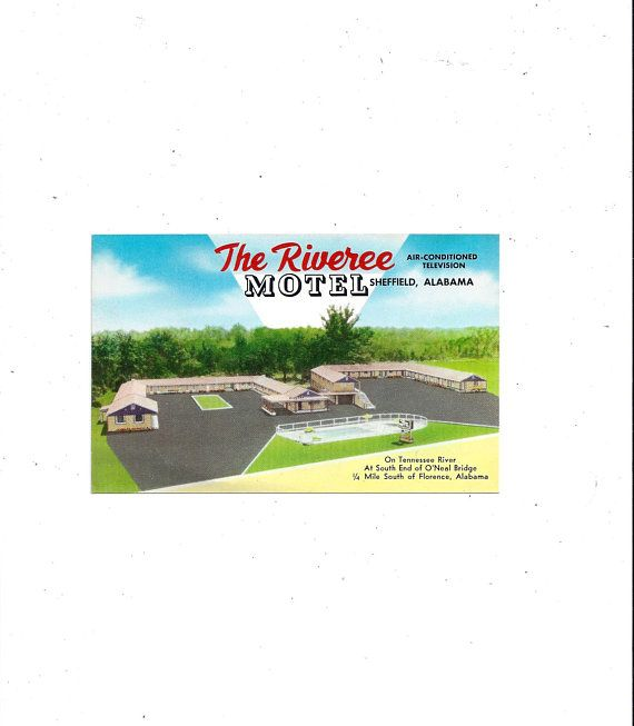 To USA, 1960s Riveree Motel Postcard, Sheffield, Alabama