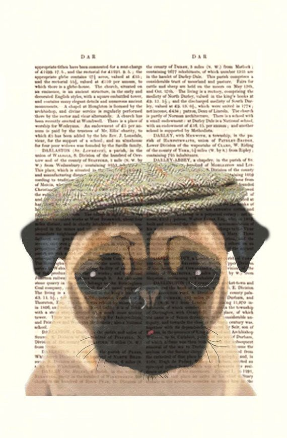 Pug Dog with Flat Cap Acrylic Art Original Painting by FabFunky ... 9ad0d01c1e47