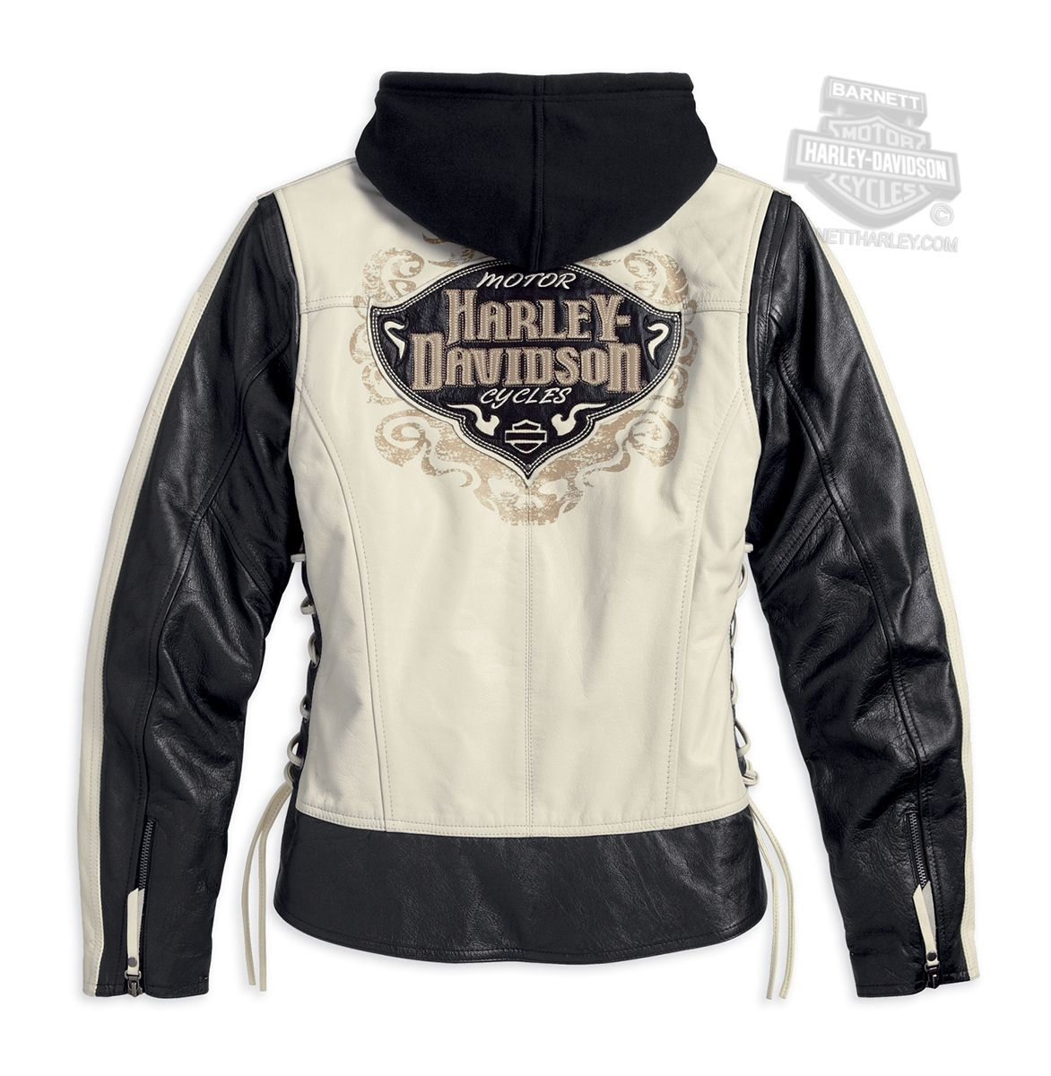 Harley Davidson Womens Adorned Side Lacing 3 In 1 Colorblocked Black Leather Jacket Leather Jacket Hoodie Black Leather Jacket Harley Davidson Women [ 1200 x 1172 Pixel ]