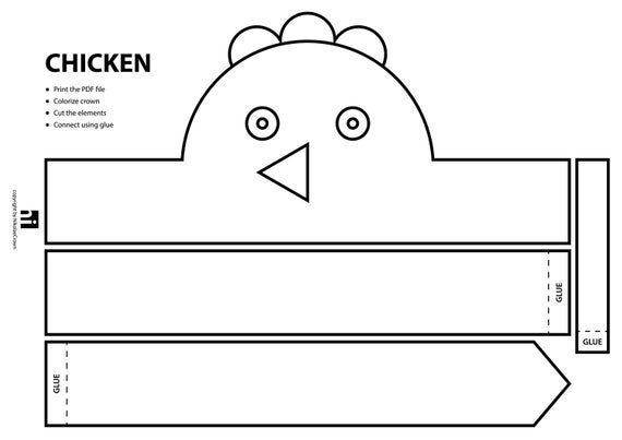 Farm Animal Paper Crown Printable Coloring Crown | Etsy ...