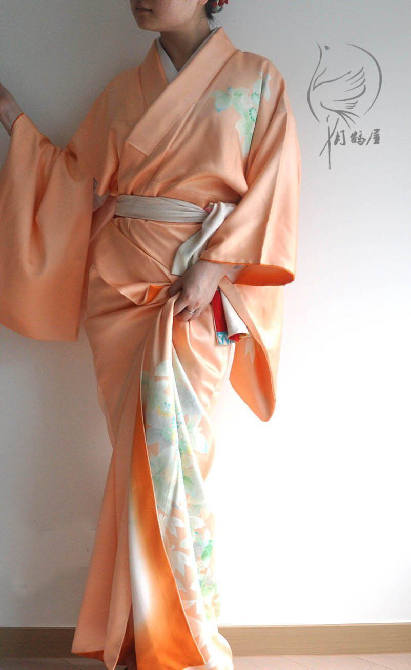 aeb3da11b Vintage japanese tsukesage silk long kimono robe, authentic formal visiting  floral maxi kimono gown dress