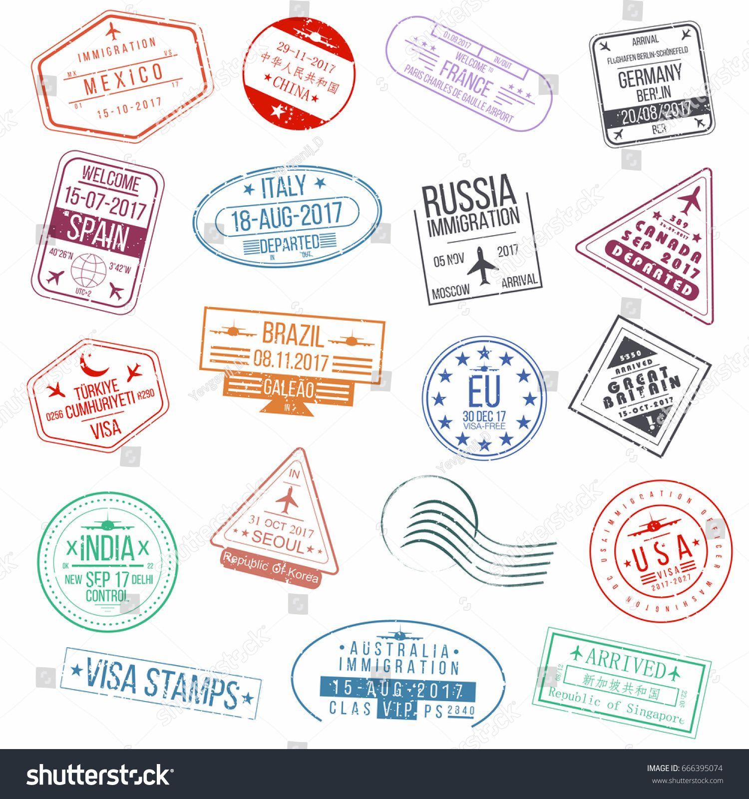 Set Of Visa Passport Stamps International Arrivals Sign Rubber Stamps Vector Passport Stamps Printable Sticker Labels Stamp