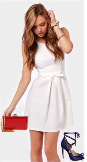 5cd03bcb90 Look bleu blanc rouge : robe blanche + chaussures Guilhermina + pochette  rouge Jorge Bischoff
