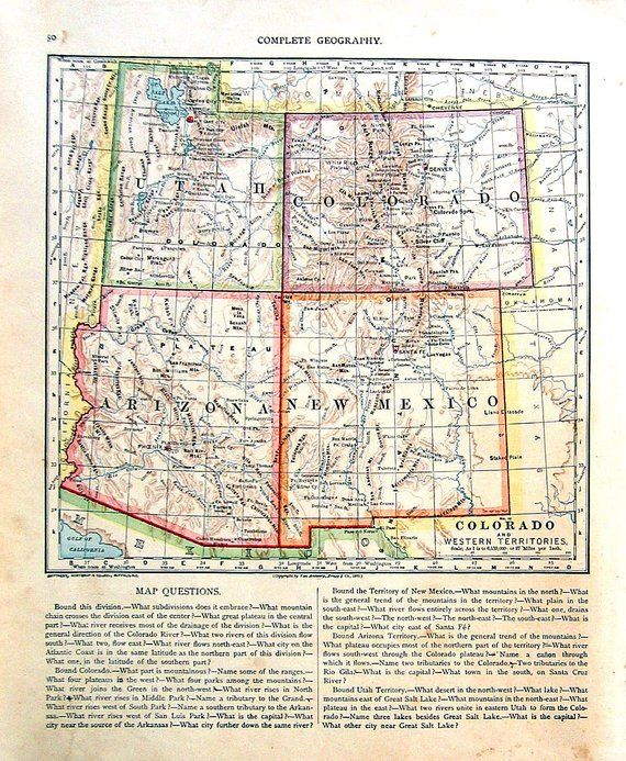 Map of Colorado and Western Territories United States State Map