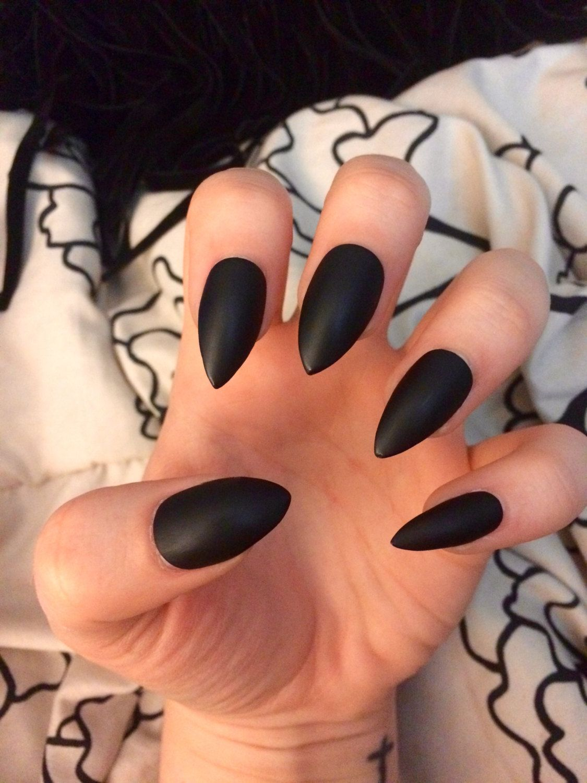 Matte black nails stiletto nails coffin nails fake nails | Let\'s ...