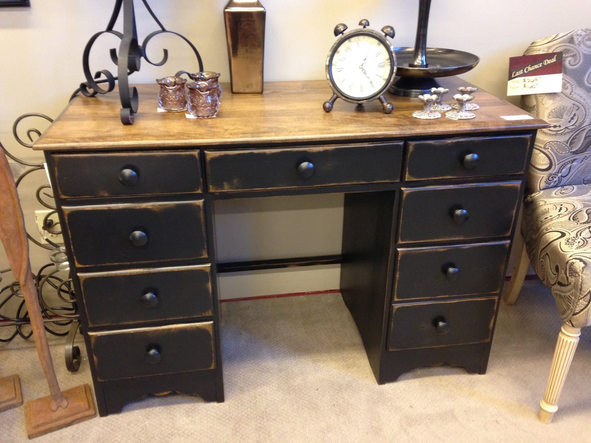 Distressed black desk Next Time Around Home Decor Furniture and