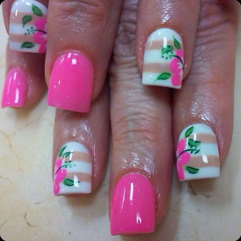 Pink White Brown Stripe Hibiscus Flower Nail Design Love