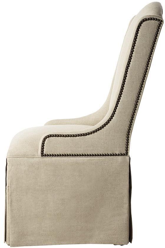 Custom Skirted Wingback Chair With Nailheads