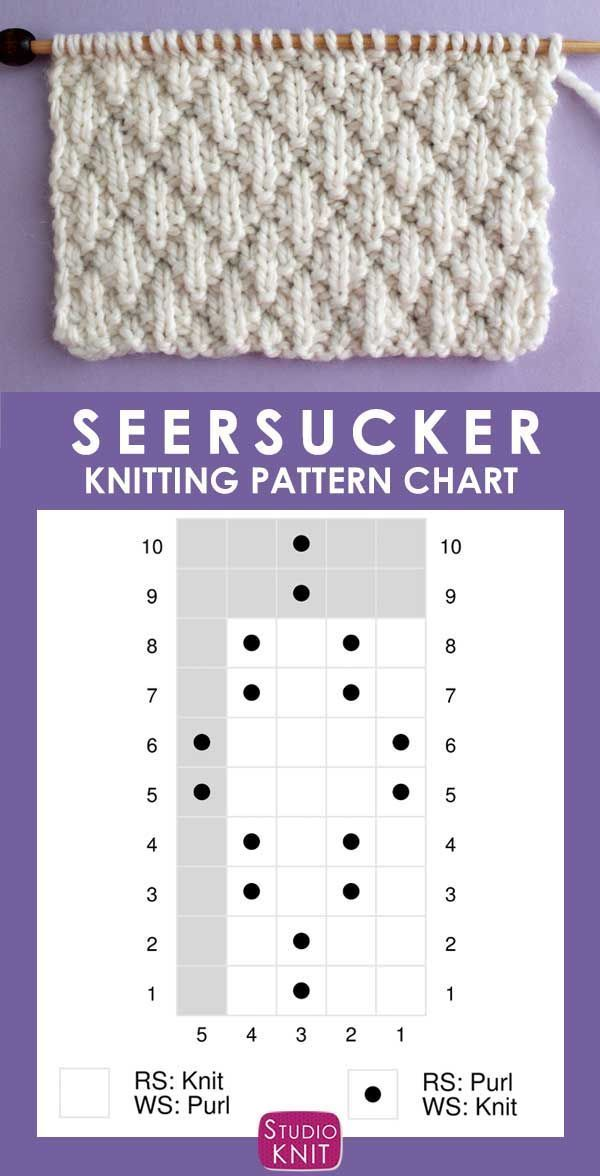 The Seersucker Stitch Knitting Pattern creates textured rows of raised puckered diamonds with an easy 8-Row Repeat of knits and purls. - Tricot  #amigurumi #crochet #knitting #amigurumipatterns #crochetafghanpatterns #babycrochetpatterns #crochetafghan #yarn #crochetscarf #crochetblanket
