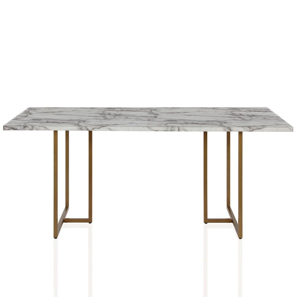 Edith Rectangular Faux Marble Dining Table White Gold Cosmoliving By Cosmopolitan In 2020 Faux Marble Dining Table Marble Dining Metal Base Dining Table
