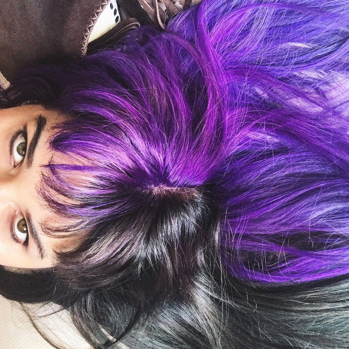 Black Hair Purple Hair Half And Half Hair Two Colors Two Colored Hair Colored Hair Fantasy Hair Purple Half And Half Hair Split Dyed Hair Two Color Hair