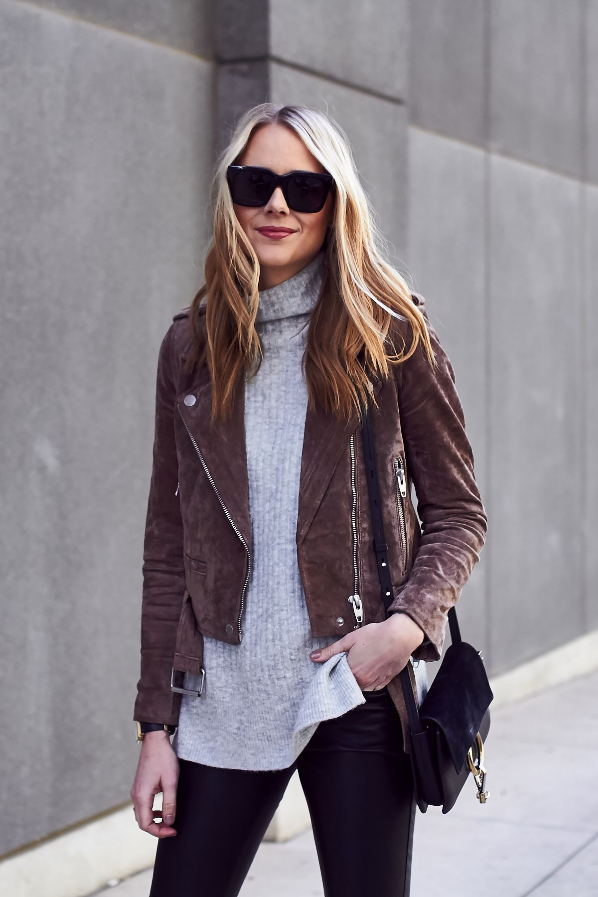 78f3cef0b Fall Outfit, Brown Suede Moto Jacket, Grey Sweater, Chloe Faye ...
