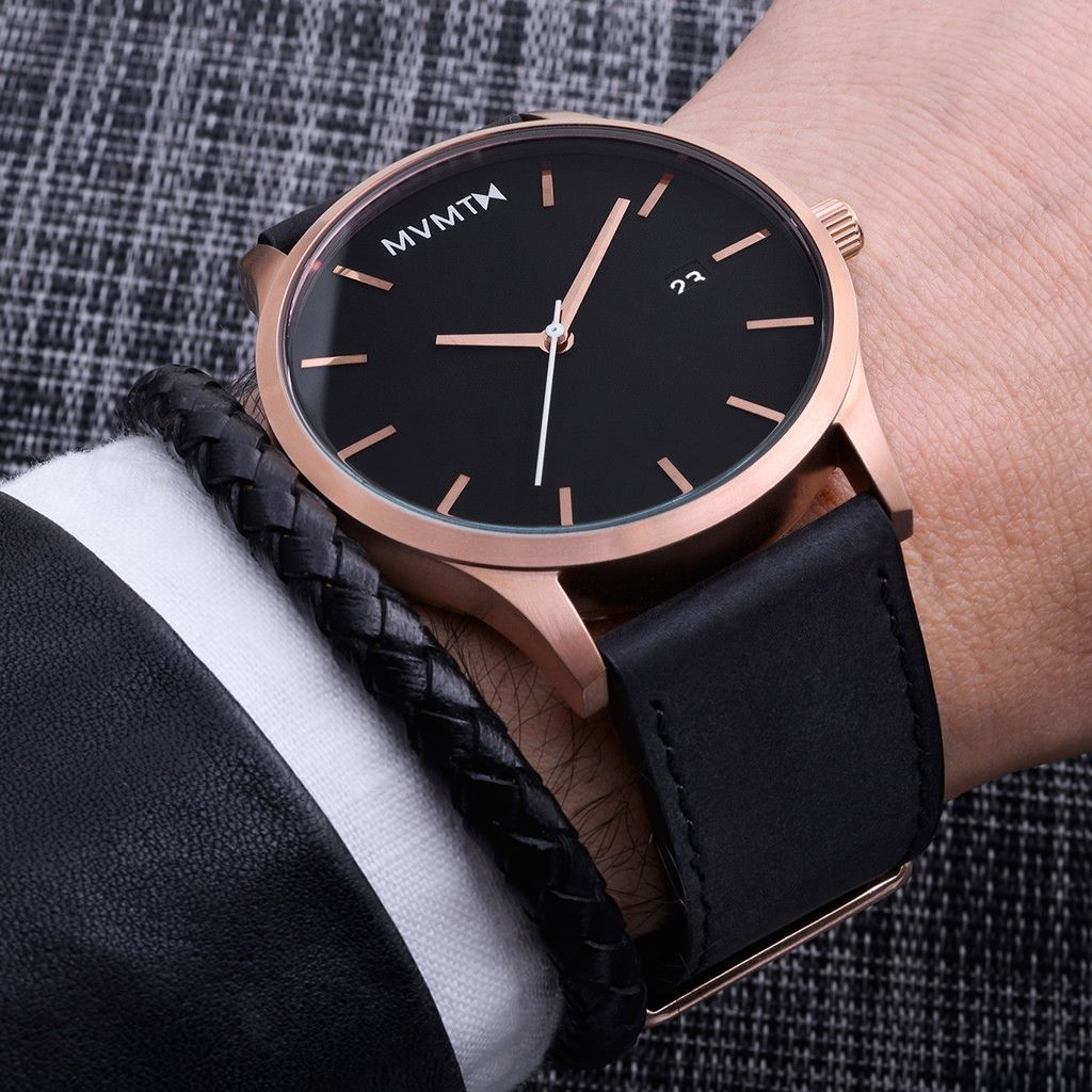 Classic Rose Gold Black is part of Gel nails Almond Burgundy - This watch is a true classic  With a black face and black leather strap, the rose gold case captivates from across any room  Join the MVMT