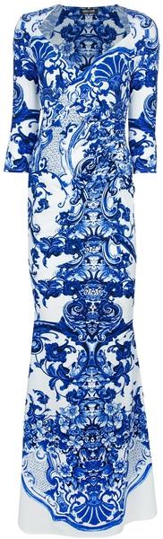 Delftish blauw...Printed Fishtail Dress Blue Porcelain Prints azulejos blue bleu cobalt white blanc