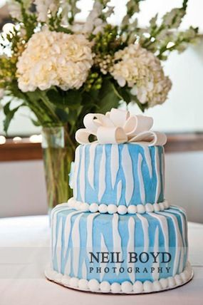 Bridesmaid Luncheon Blue White UNC Colors Cake By Sugarland In Chapel Hill NC