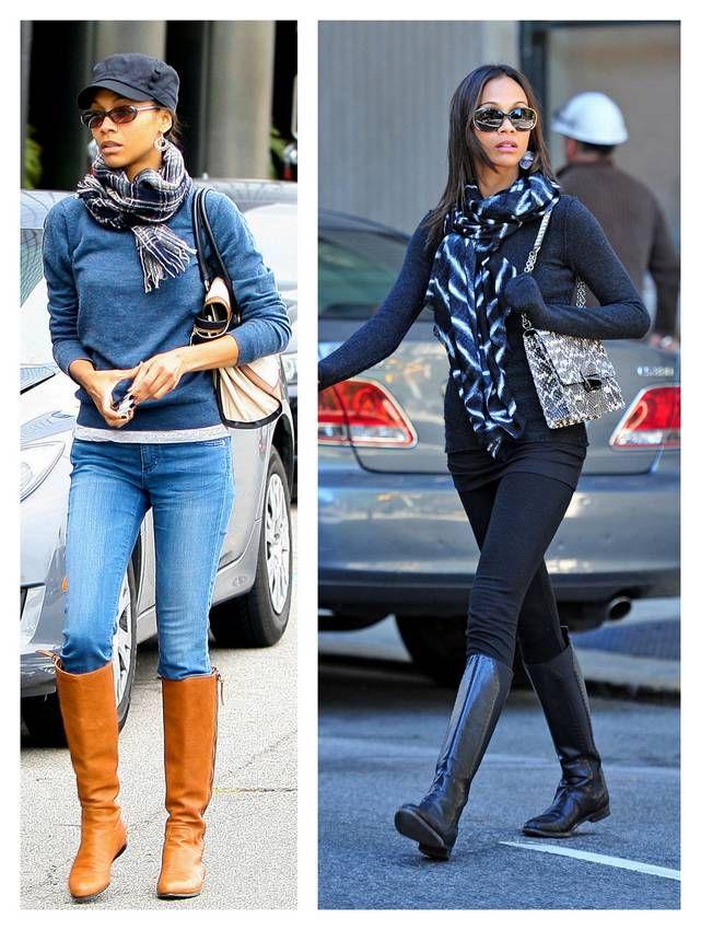 bf47e5e4b68 hola-streetstyle-zoe-saldaña-boots   Celebrity style   Pinterest ...