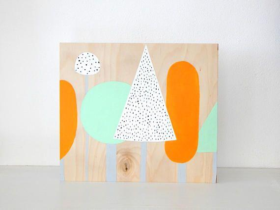 Minimal trees art. Modern tress painting. Wood wall art.