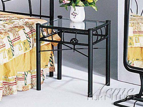 Sunburst Design Black Wrought Iron Metal Nightstand Night Stand Bedroom