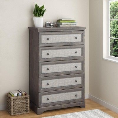 Best Chelton 5 Drawer Dresser With Fabric Inserts Rustic Oak 400 x 300